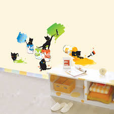 painting cats wall stickers for kids rooms