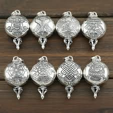 925 silver tibetan symbols gau pendant buddhist eight symbols gau box pendant buddhist babao symbol prayer