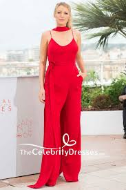 Lively Bra Size Chart Blake Lively Red Jumpsuit Spaghetti Straps V Neck Belt