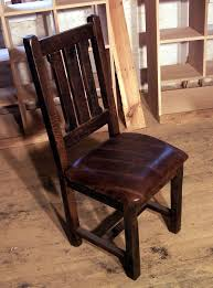 custom made reclaimed oak rustic mission dining chairs with upholstered leather seats