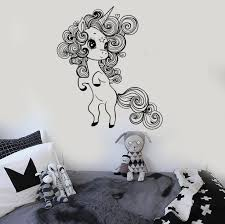 vinyl wall decal little cute unicorn nursery girl room stickers unique gift ig3692  on little black girl wall art with vinyl wall decal little cute unicorn nursery girl room stickers