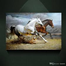 2018 modern abstract canvas art galloping white horse brown horse painting print on canvas wall art decor canvas poster pictures for living room from tennee