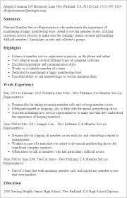 Resume Templates: Member Service Representative