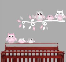 owl nursery wall decor pink owl wall decals owl stickers owl nursery wall