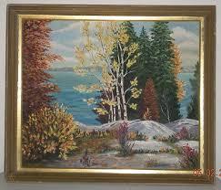Vintage Viola O'Connor Framed Oil Painting Fall Scene for Gimbel ...