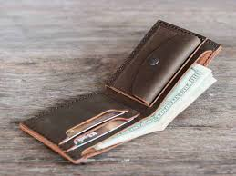 men s leather bifold wallet with coin pocket leather wallet