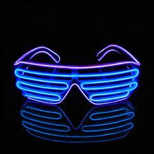 Neon Light Glasses Pinfox Shutter El Wire Neon Rave Glasses Flashing Led Sunglasses Light Up Costumes For 80s Edm Party Rb03 Purple Blue