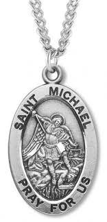 men s sterling silver oval st michael