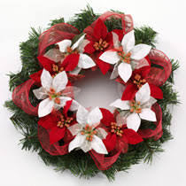 Christmas Craft Idea: Poinsettia & Ribbon Wreath