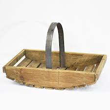 rustic retro french small wooden garden trug wooden basket