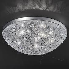 franklite sirius chrome crystal glass Ø 500mm 5 light flush ceiling fitting fl2289