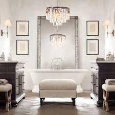 glamorous modern bathroom with bathroom lighting fixtures installed with white bathtub applying claw handle faucet and chandeliers glamorous pendant lighting bathroom vanity