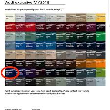 Audi Colour Chart 2018 Further To A Previous Post Here Is A Chart Of The Audi