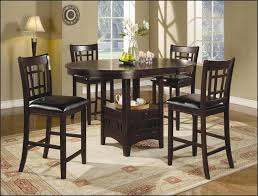 breathtaking dark brown round minimalist wood tall dining table set with 4 chairs design ideas