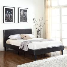 Classic Deluxe Bonded Leather Low Profile Platform Bed Frame w/ Paneled Headboard Design