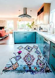 red and blue kitchen white