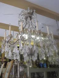 rock crystal and metal 12 light chandelier