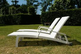 Modern Sun Lounger With An Aluminium Frame And Textilene Fabric In Two