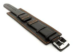 leather watch strap with wrist cuff black with orange stitching solar 01