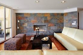 fashionable flooring choice but it is also becoming a favorite for covering walls the variations in the slate tile can add elegance to a living room