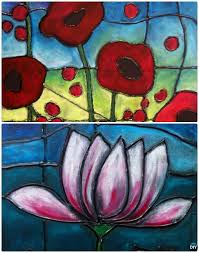 diy faux stained glass canvas art diy hot glue crafts ideas