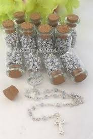 12pc mini glass bottle cork beach wedding favors rosary keepsake