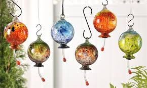 image of hand blown glass hummingbird feeder with perch