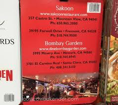 bombay garden sakoon gift cards costco weekender costco 1039729 save 20% 2 50 gift cards to sakoon or bombay garden