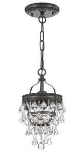 1 light vibrant bronze transitional mini chandelier dd in clear glass drops 131 vz elite fixtures