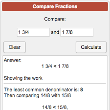 Fractions From Least To Greatest Chart Comparing Fractions Calculator