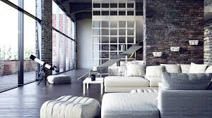 contemporary loft furniture. Mesmerizing Loft Decor With Dazzling Natural Look : Modern Spacious Living Room Beautiful Urban Stone Contemporary Furniture