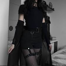 Dark style <b>tight</b>-<b>fitting high</b>-waist shorts yv40531   Edgy outfits, Egirl ...