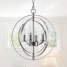 cerdeco 4 lights sphere chandelier modern pendant light brushed nickel ul listed