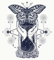 Fototapeta Prostorové Přesýpací Hodiny A Motýl Tetování Pojem času Symbol