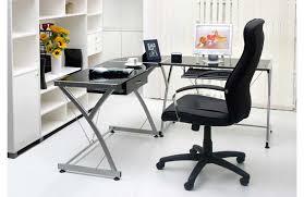 image of black l shaped glass desk ideas