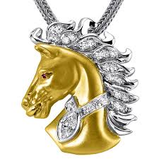 14kt two tone gold diamond horse pendant by