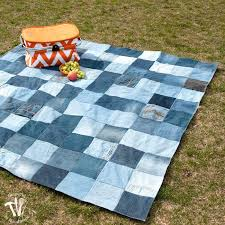 Jean Boyd Quilt Patterns Jean Rag Quilt Tutorial Denim Circle Rag ... & Denim Rag Quilt Ideas Easy Water Resistant Upcycled Jeans Picnic Blanket  Jean Rag Quilt Patterns Blue Adamdwight.com