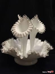 vintage fenton sliver crest milk glass epergne flower vase 1950s