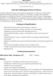 Sample Dance Resumes Dance Teacher Resume Sample Dance Instructor