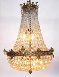 crystal basket chandelier a fine french century empire style gilt bronze and diamond cut crystal basket