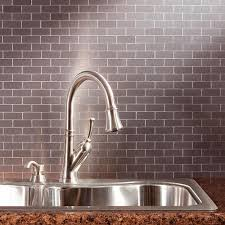 aspect subway matted 12 in x 4 in brushed stainless metal decorative tile backsplash