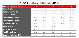 Pinoy Fitness Singlet Size Chart Pinoy Fitness