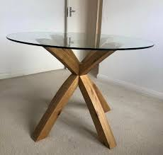 oak glass round dining table 4 cream chairs