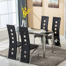 gray dining room table. Amazon.com - Mecor 5 Piece Dining Table Set/Glass Top And 4 Leather Chairs Kitchen Furniture (Black) (5 PC) \u0026 Chair Sets Gray Room