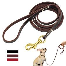 details about 6ft genuine leather dog leash small dogs training walking leads puppy slip leads