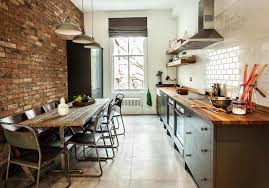 Brick Kitchen Floors Stylish Open Kitchen With Brick Wall Design And Herringbone