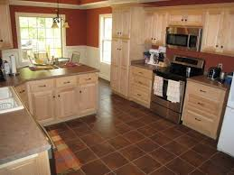 Marvelous Kitchen Natural Maple Cabinets With Tile Floor Idea