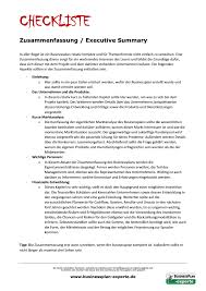 Executive Summary Businessplan Experte