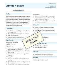 One Page Resume Template Word Custom Single Page Resume Template One Page Resume Template Word Download