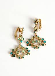 vintage green blue rhinestone chandelier earrings